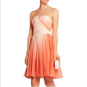 HALSTON HERITAGE Ombre Pleated Airy Chiffon Dress